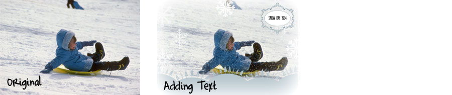 adding text to winter theme digital images